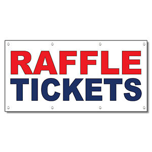 Raffle Tickets Red Blue 13 Oz Vinyl Banner Sign With Grommets