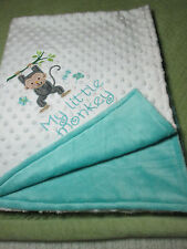 My litlle monky embroidered  doted and plush minky  baby blanket