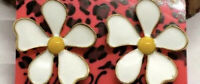 White And Yellow Lovely Flower Fashion Stud Enamel Earrings