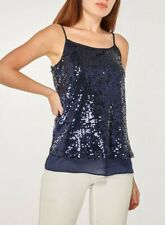 Dorothy Perkins - Navy Sequin Camisole Top Uk 12 Brand New
