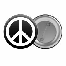 "Peace Sign Symbol - Badge Button Pin 1.25"" 32mm Anti-War Black White Hippy"