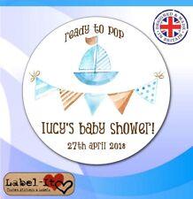 BLB04 48x 40mm Baby Shower Birth Boy Personalised Christening Sticker/Label/Card
