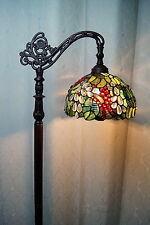 Leadlights ebay 2016 new arrivalsgorgeous grape stained glass bridge arm tiffany floor lamp aloadofball Gallery