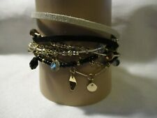 """w/Mixed Textures 8 1/4"""" Neutral Avon Textured Layers Bracelet Beaded Accents"""