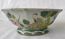19th c. Chinese Famille Verte Hexagonal Bowl Turquoise Interior, Signed