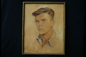 RARE! Old painting, portrait, man, As. Popov, 1945, Bulgaria