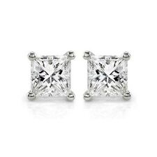 set in 14k White Gold Ps-80W Princess Cut Stud Earrings with .80Ct diamonds