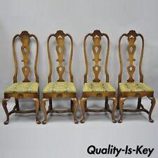 High Back Italian Baroque or Swedish Rococo Style Dining Side Chairs Set of 4