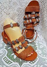 TOPSHOP Brown Leather Weaved & Pewter Metal Embellished  Sandals UK Size 3.5