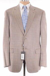 Giorgio Armani Black Label NWT Sport Coat Silk-Like Light Tan Plaid 42R $2,395