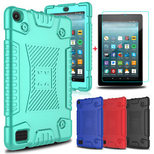 For Amazon Kindle Fire 7/HD 8 2017 Soft Silicone Tablet Case+Screen Protector