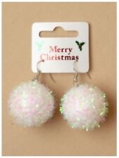Pair of White Christmas Snowball Earrings - Xmas Party Gift (J131)