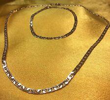 Vintage 925 Sterling Silver Fine Flat Link Necklace And Bracelet Set