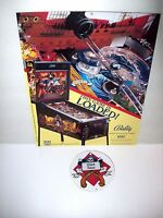 Black Rose Pinball Machine NOS Sales Flyer + Plastic Promo Keychain 1992 Bally