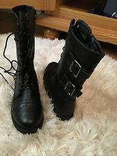 Black combat biker boots mid calf lace up buckle faux leather women's size 7.5