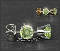 Ohrstecker 585 Gold Peridot grün 3,4,5,6 mm, 14 Karat Damen Goldohrstecker, Rund