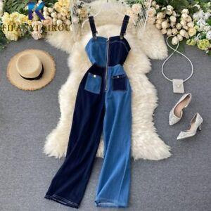 Summer Women Overalls Fashion Zipper Sleeveless Suspenders Jeans Long Trousers
