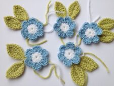 5 Blue and White Crochet Flowers 6 petals, 5 cm diameter with 10 Leaves
