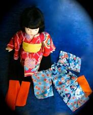 JAPANESE GIRL PORCELAIN FRIENDSHIP DOLL 2 KIMONOS & WOOD STAND NIB RETIRED RARE