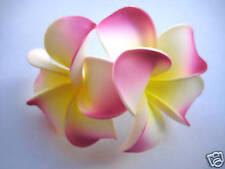 Hawaiian Bridal Wedding Party Foam 2-Flower Hair Clip Magenta Yellow Plumeria
