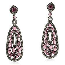 18k Gold Tourmaline Diamond Handmade Sterling Silver Dangle Earrings Jewelry
