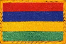MAURITIUS Flag Iron-On Military Patch Morale Emblem GOLD Border #23