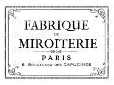 A6 PARIS FURNITURE DECAL DIY SHABBY CHIC IMAGE TRANSFER VINTAGE LABEL FABRIC