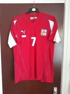 Official Czech Republic National Football Home Shirt Euro 2004 NO 7 Fiedler XL