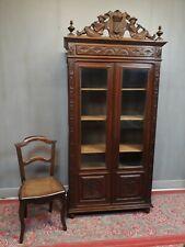 Ancienne  petite BIBLIOTHÈQUE - VITRINE BRETONNE meuble armoire vitrée