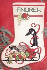 Janlynn Christmas Canada Sleigh Goose Fruit Sled Cross Stitch Stocking Kit 00285