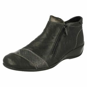 LADIES REMONTE LEATHER DOUBLE ZIP WARM EVERYDAY WINTER WOMENS ANKLE BOOTS R9883