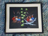 Vintage African BELGIAN CONGO Watercolor Signed Paintings Female Dancers