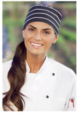 One Lot of 12 Chalk Stripe Beanie Chef Hats - Free Shipping
