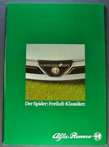 1986 Alfa Romeo Spider Catalog Sales Brochure German Text Excellent Original 86