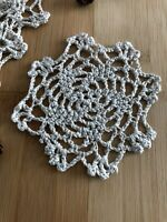 12Pcs/Lot Vintage Hand Crochet Lace Doilies Coasters Cotton Small 4""