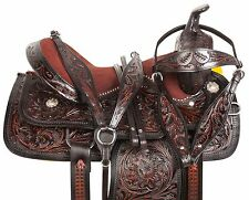 GAITED 16 17 18 WESTERN TOOLED BLACK BARREL TRAIL SHOW HORSE SADDLE TACK SET