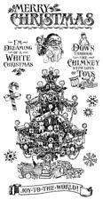 Graphic 45 St. Nicholas Cling Stamp Set 2 Merry Christmas Tree Snowflake 10 PC