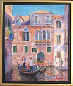 CANAL IN VENICE~ITALY~LISTED ARTIST~ORIGINAL OIL PAINTING BY MARC FORESTIER