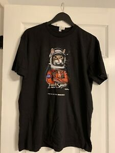 NASA Men's T Shirt Cat Astronaut Outer Space Graphic Tee