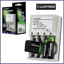 Plug-in RICARICABILE RETE CARICABATTERIA CASA AA / AAA / 9V / PP3 Lloytron NI-MH UK