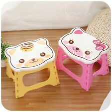 1pcs Cat Face Plastic Children's Folding Portable Small Stool Chair Color Random