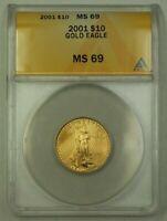2001 US $10 Ten Dollar American Gold Eagle Coin AGE 1/4 Oz ANACS MS-69