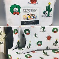 3pc Berkshire Peanuts Christmas TWIN Sheet Set Snoopy Spike Cactus Holiday NEW
