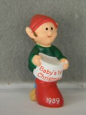 "Baby'S 1St Christmas - Elf With Stocking - 1 1/2"" High Hallmark Merry Miniature"