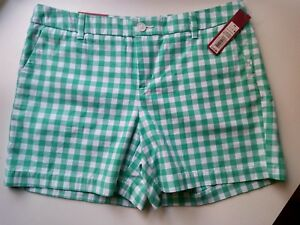 "(7.1) Merona Chino 5"" Green White Plaid Gingham Shorts Size 10 Womens pockets"