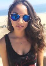 Aviator Sunglasses Vintage Blue Mirror Lens New Men Women Fashion Frame Retro