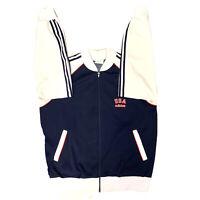 Vintage Adidas Team USA Full Zip Track Jacket Mens Large Blue