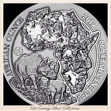 2012 Rwanda Rhino 1 oz Silver Coin