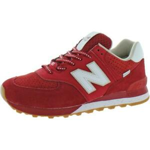 New Balance Mens 574 Red Suede Walking Shoes Sneakers 10 Medium (D) BHFO 8686