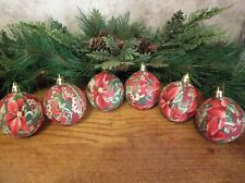 6 Poinsettia Paisley/Gold Rag Balls Rustic, Farmhouse Tree Ornaments, New
